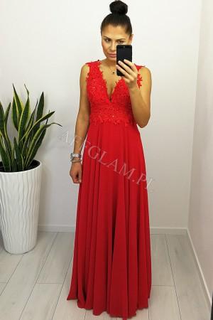 Sukienka długa sally z górą koronkowa czerwona