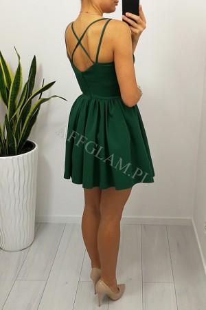 Sukienka na ramiączkach kelly zieleń butelkowa