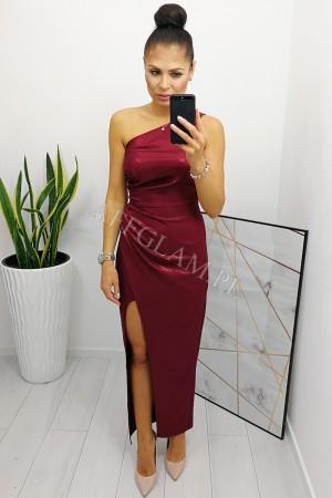 Sukienka długa na jedno ramię kate bordowa brokat
