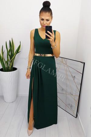Sukienka długa z rozporkiem billi zieleń butelkowa