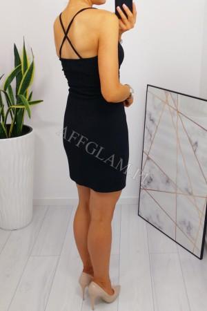 Sukienka dopasowana na ramiączkach paris czarna