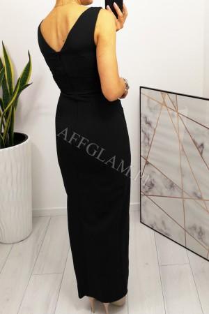 Sukienka ołówkowa z dekoltem i rozporkiem sindi długa czarna