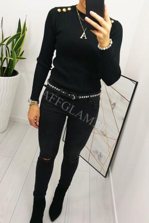 Bluzka sweterkowa ażurkowa złote guziki czarna