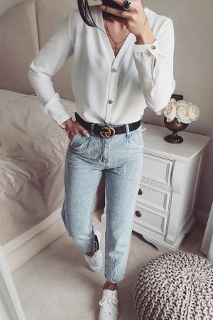 Elegancka koszula panama z guzikami ecru