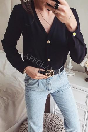 Elegancka koszula panama z guzikami czarna