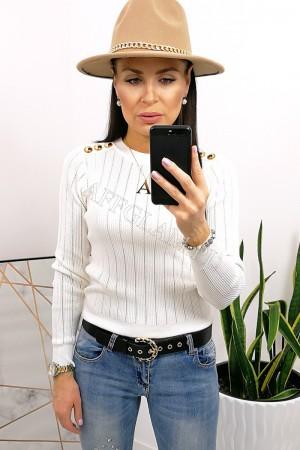 Bluzka sweterkowa ażurkowa złote guziki biała
