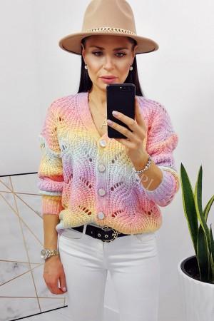Sweter ażurowy na guziki tęczowy