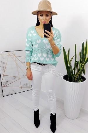 Sweter w białe serduszka miętowy