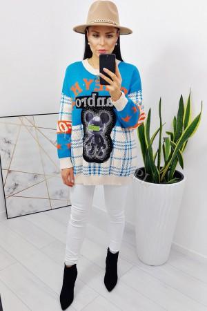 Sweter oversize bajkowy toy 2 niebieski - beż