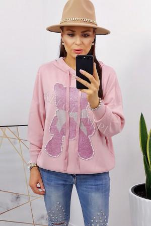 Sweter z kapturem miś cyrkonie pudrowy róż
