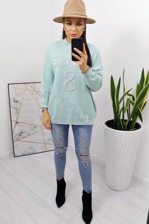 Sweter z koralikami jadore miętowy
