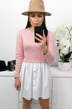 Sukienka z koszulowym dołem pudrowy róż
