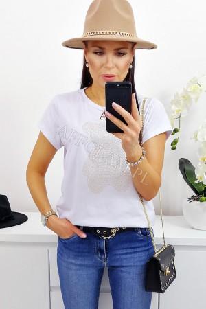 Bluzka t-shirt miś biały