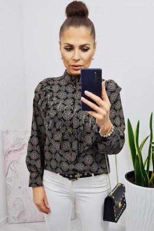 Koszula z żabotem sofia wzór 2 czarna - camel