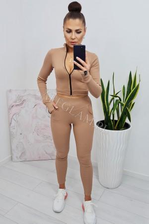 Komplet bluzka krótka i spodnie rya camel