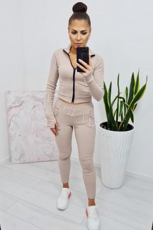 Komplet bluzka krótka i spodnie rya beżowy