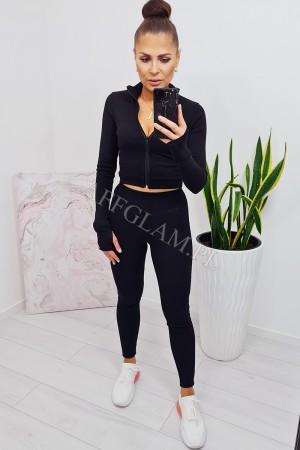 Komplet bluzka krótka i spodnie rya czarny