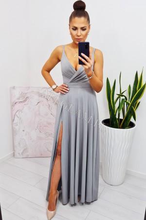 Sukienka długa na ramiączkach mandy srebrna brokat
