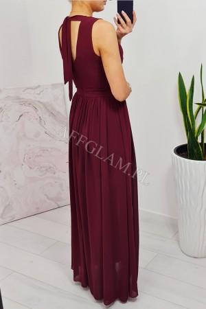 Sukienka długa szyfonowa chloe bordowa