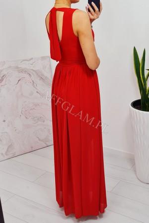 Sukienka długa szyfonowa chloe czerwona