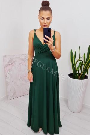 Sukienka długa na ramiączkach mandy zieleń butelkowa