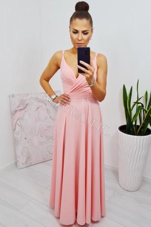 Sukienka długa na ramiączkach mandy pudrowy róż