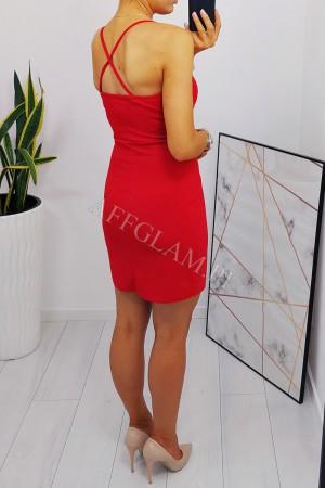 Sukienka dopasowana na ramiączkach paris czerwona