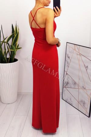 Sukienka dopasowana długa na ramiączkach paris czerwona