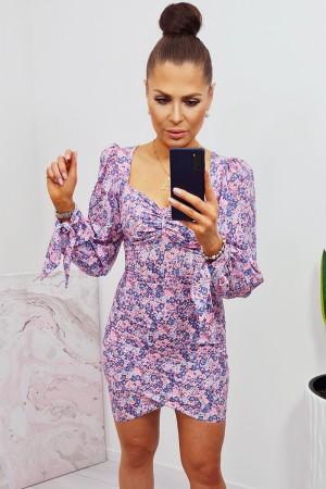 Sukienka dopasowana z bufiastym rękawem lisa w kwiaty