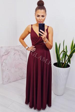 Sukienka długa na ramiączkach mandy bordowa brokat