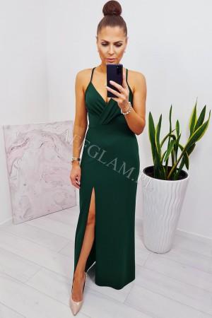Sukienka dopasowana długa na ramiączkach paris zieleń butelkowa