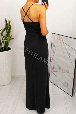 Sukienka dopasowana długa na ramiączkach paris czarna