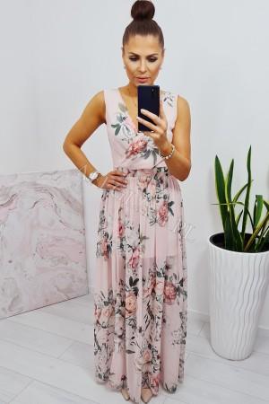 Sukienka długa szyfonowa chloe pudrowy róż w kwiaty