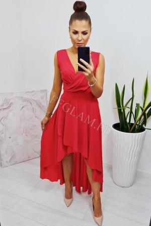 Sukienka długa przód krótszy tył dłuższy czerwona