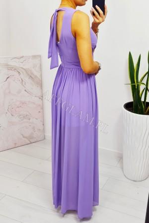 Sukienka długa szyfonowa chloe lila wrzos