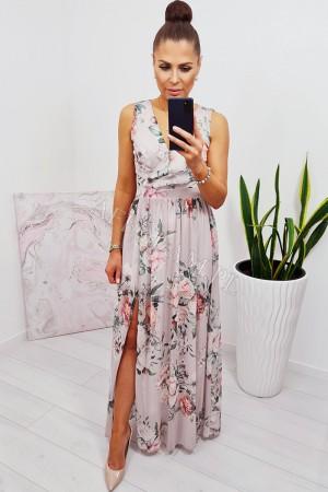 Sukienka długa szyfonowa chloe beżowa w kwiaty
