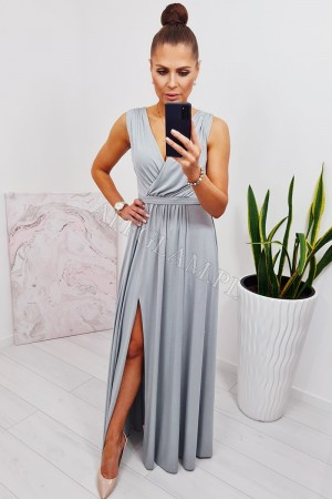 Sukienka długa dekolt kopertowy selena srebrna brokat