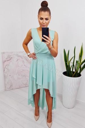 Sukienka długa przód krótszy tył dłuższy miętowa