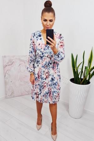 Sukienka plisowana z rękawem biała w kwiaty niebieski - róż