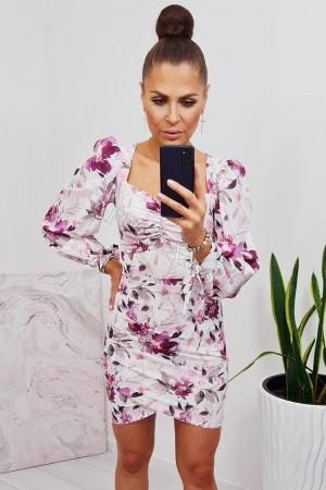 Sukienka dopasowana z bufiastym rękawem lisa biała w kwiaty 3