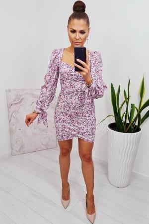 Sukienka dopasowana z bufiastym rękawem lisa w kwiaty 3