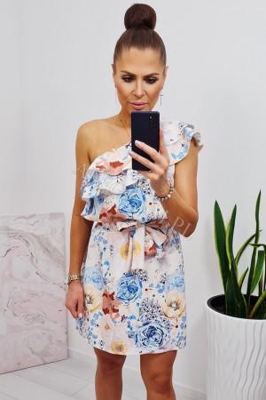 Sukienka hiszpanka na jedno ramię z falbanką w kwiaty niebieskie