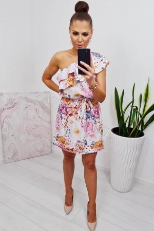 Sukienka hiszpanka na jedno ramię z falbanką w kwiaty