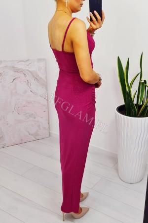 Sukienka długa na ramiączkach maya 2 fuksja brokat