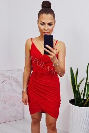 Sukienka asymetryczna na ramiączkach maya 2 czerwona brokat