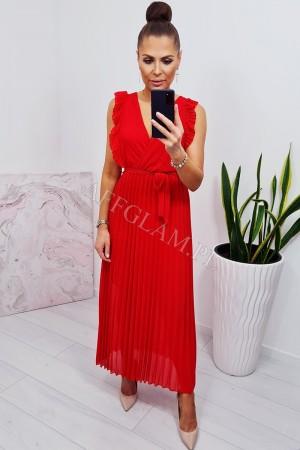 Sukienka długa plisowana z dekoltem nirma czerwona