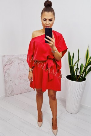 Sukienka wiązana w talii kimono nietoperz czerwona