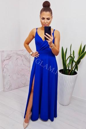 Sukienka długa na ramiączkach mandy chabrowa