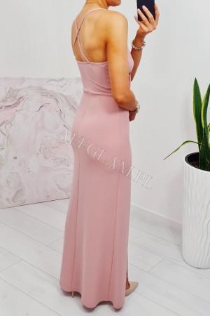 Sukienka dopasowana długa na ramiączkach paris brudny róż