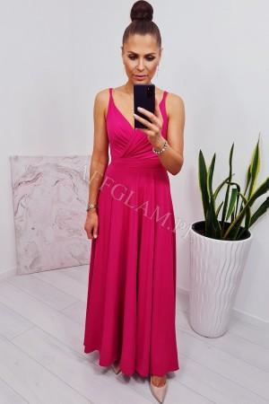 Sukienka długa na ramiączkach mandy amarant